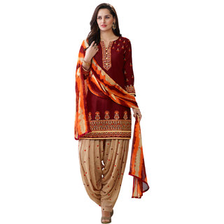 Kvsfab Maroon Beige Pure Cotton embroiderd patiala un-stitched dress Material KVSSK8752PA49