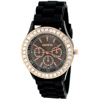 Hk geneva black rubber belt crystal studded women Analog Watch - For Girls