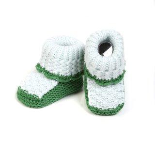 Baby Oodles Light & Dark Green Patterned Crocheted Woollen Baby Booties