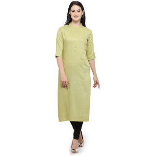 Aaliyah Cotton Rayon Pista green Kurti with Pin tucks on the shoulder with  a smart chinese collar 8a0e947b8