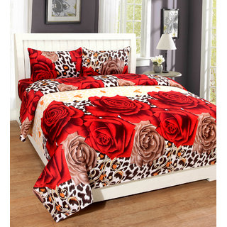 k decor  Home Furnishing 3D Double Bedsheet With 2 Pillow Covers