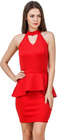 Texco Women Red Solid Sleeve less Cut out neck Dress