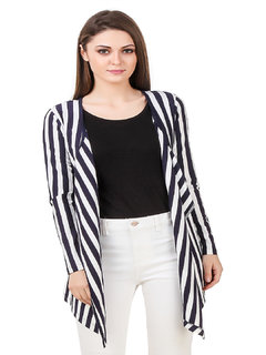 Texco Navy & White stripe long sleeves waterfall shrug