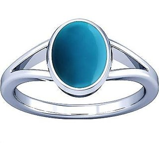 e49b3e544eef6 Divya Shakti 7.25-7.50 Ratti Turquoise Silver Ring ( FIROZA / FEROZA STONE  RING ) 100% Original AAA Quality Gemstone