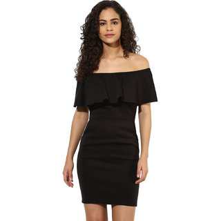 Texco women's black off shoulder white party dress