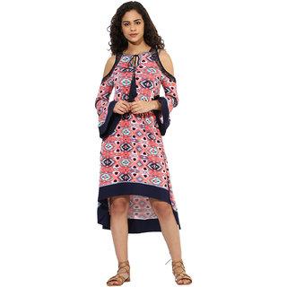 Texco women's multicolor cutout shoulder boho dress