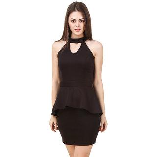 Texco women's cut out neck little black party dress