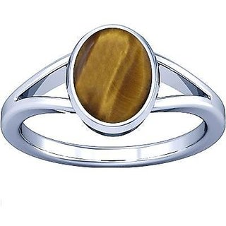 Divya Shakti 8.25-8.50 Ratti Tiger's Eye Silver Ring ( Chitti Stone Ring ) 100% Original AAA Quality Gemstone