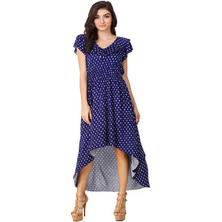 Texco Blue Printed Ruffle Detailing High Low Dress