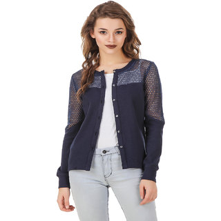 Texco Navy Front Button Placket High-Low Versatile Shrug