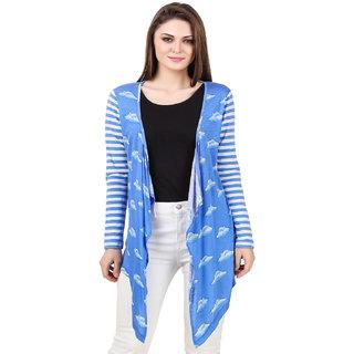 Texco Sky & White stripe long sleeves waterfall shrug