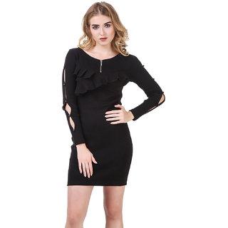 Texco Black Ruffled Ribbed Bodycon Dress