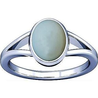 Divya Shakti 7.25-7.50 Ratti White Opal Silver Ring 100% Original AAA Quality Gemstone