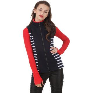 Texco mock neck cut sleeve navy & white striped panel winter jacket