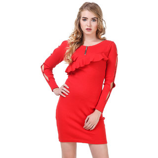 e7a48f5103 Buy Texco Red Ruffled Ribbed Bodycon Dress Online - Get 71% Off