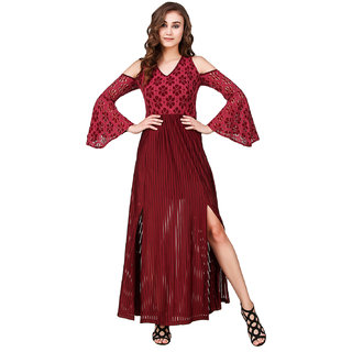 Buy Texco Maroon Self Design Maxi Dress Dress For Women Online - Get 63% Off fd01225bf