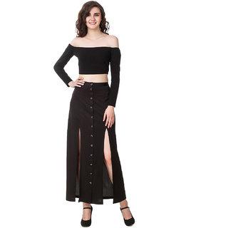 e36b07632a5e3 Buy Texco Black Off Shoulder Long Sleeve Crop Top Online - Get 62% Off
