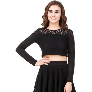 e0e43f61368f53 Buy Texco Black Lace Crop Top Online - Get 58% Off
