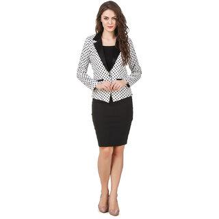 Texco women's white polka dott summer blazer