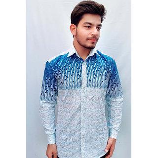 Tom T Mens Blue Galaxy Printed Shirt For Men New Pattern
