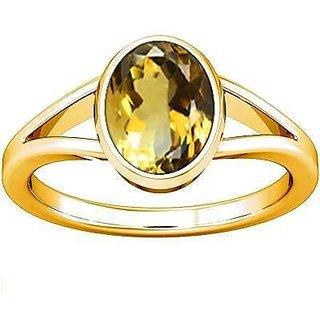Divya Shakti 3.25 - 3.50 Ratti Citrine / Golden Topaz Panchadhatu Ring ( Sunhela Stone Ring ) 100% Original AAA Quality Gemstone