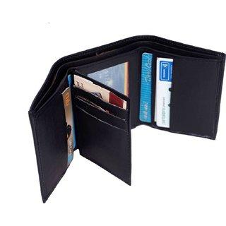 Macberry Black PU Bi-fold Wallets for Men's