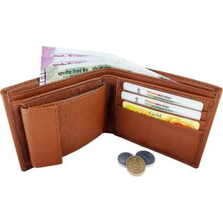 Macberry Tan PU Bi-fold Wallets for Men's (Synthetic leather/Rexine)