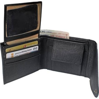 Macberry Black PU Bi-fold Wallets for Men's