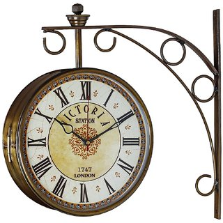 doublesided 8 inch designer dial brass finish victoria station clock wall clock antique gold golden