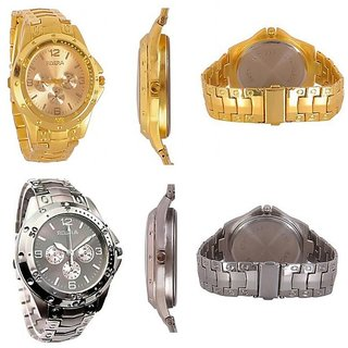 COMBO ROSRA GOLDEN Watch + ROSRA SILVER PARTYWEAR WATCH FOR MENS