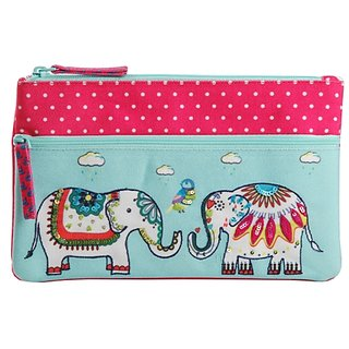 Pinaken Embroidered  Embellished Two Zipper Pouch