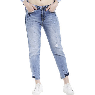 Re-constructed boy fit jeans