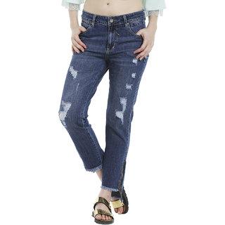 Hi-low zipper hem jeans
