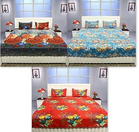 K Dcor Set of 3 Polyester Cotton 100 Thread Count Double Bedsheet With 6 Pillow Covers- Below 120 Thread Count