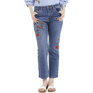 embroidered straight fit jeans