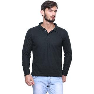 Dark Green Full Sleeve Collar T-Shirt For Men