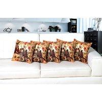 Home Berry Birds Jute Digital Printed Cushion Cover - 5 Piece Set