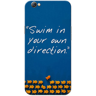 Oppo F3 Case, Swim In Your Own Direction Navy Blue Slim Fit Hard Case Cover/Back Cover for OPPO F3