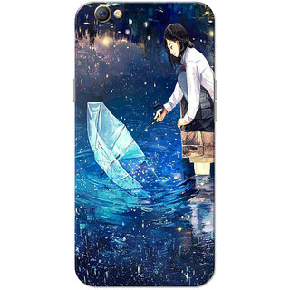 Oppo F3 Case, Girl Enjoying Rain Blue Slim Fit Hard Case Cover/Back Cover for OPPO F3