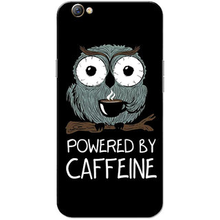Oppo F3 Case, Powered By Caffeine Owl Black Slim Fit Hard Case Cover/Back Cover for OPPO F3