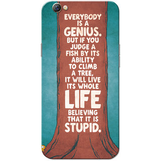 Oppo F3 Case, Everybody Is A Genius Brown Blue Slim Fit Hard Case Cover/Back Cover for OPPO F3