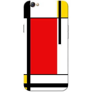 Oppo F3 Case, Squares Pattern Red Black Yellow Slim Fit Hard Case Cover/Back Cover for OPPO F3