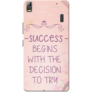 Lenovo K3 Note, Lenovo A7000, Lenovo A7000 Plus Success Begins Pink Slim Fit Hard Case Cover/Back Cover for Lenovo K3 Note/A7000/A7000 Plus