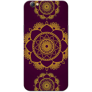 Oppo F3 Case, Rangoli Pattern Yellow Violet Slim Fit Hard Case Cover/Back Cover for OPPO F3