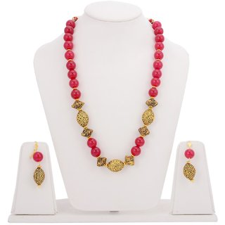 Tistabene Retails Traditional Antique Metal and Red Stones Single Stranded Stylish Necklace Set For WomanGirls(NS-0582)