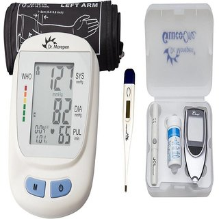 Dr. Morepen BP-09 Blood Pressure Monitor With BG-03 Meter+25 Strips MT 111 Thermometer Health Care Appliance Combo