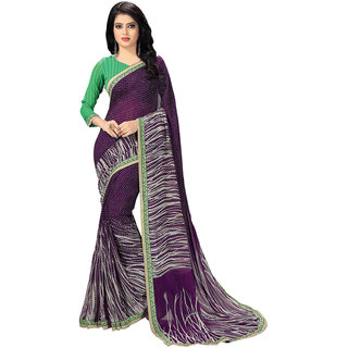 Meia Purple Georgette Printed Saree With Blouse