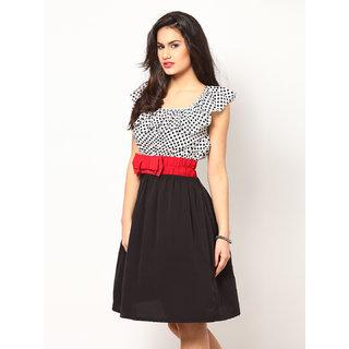 Eavan Black And White Printed Fit Flare Dress