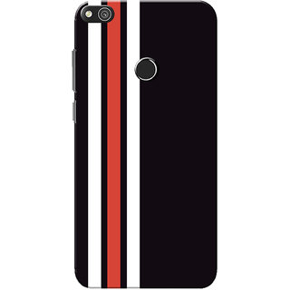 watch ded32 97c17 Huawei Honor 8 Lite Case, Huawei P8 Lite Case, Three Strips Red White Black  Slim Fit Hard Case Cover/Back Cover for Huawei Honor 8 Lite