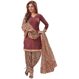 Salwar House Women's Brown  Multicolor Synthetic Printed Unstitch Dress Material Salwar Suit with Dupatta (Unstitched)